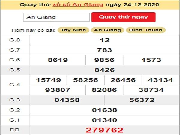 Quay thử xổ số An Giang ngày 24 tháng 12 năm 2020